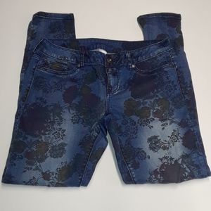 Maurices blue floral skinny jeans
